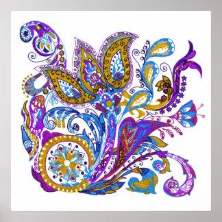 Paisley flower hand drawn illustration poster