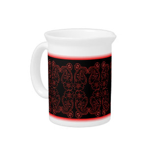 Paisley Flower (Red) Beverage Pitcher