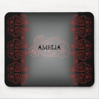 Paisley Flower (Red) Mousepad