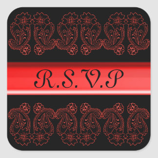 Paisley Flower (Red) Square Sticker