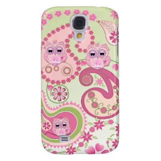 Paisley flowers & Owls design Samsung Galaxy S4 Cases