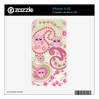 Paisley flowers & Owls design iPhone 4/4S skin Skins For The iPhone 4