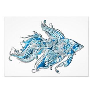Paisley Flowing Fish Invites