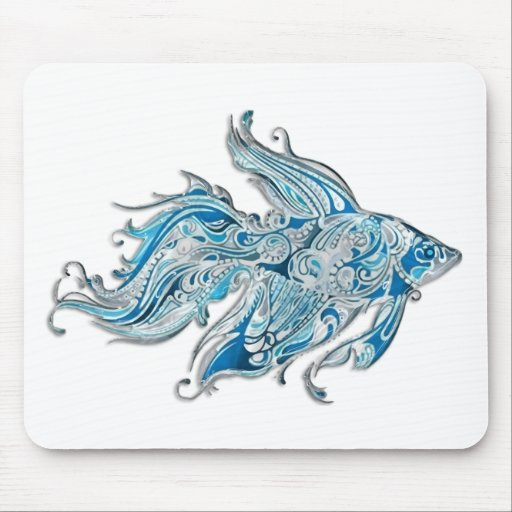 Paisley Flowing Fish Mouse Pad