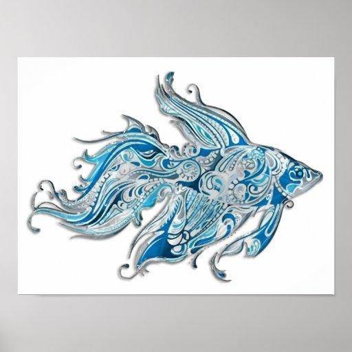 Paisley Flowing Fish Print