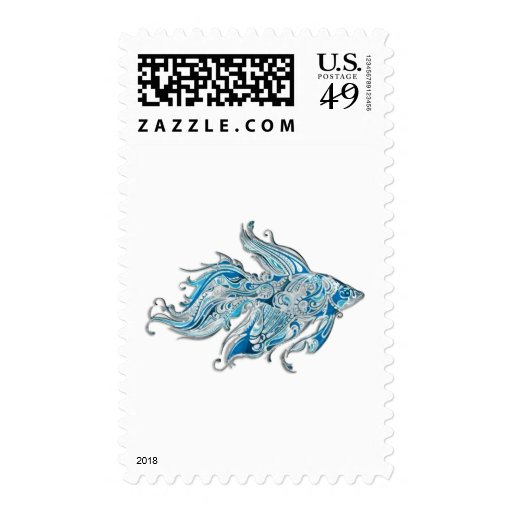 Paisley Flowing Fish Stamp