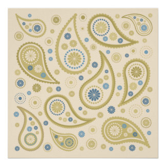 Paisley Funky Print Cream Blues Golds