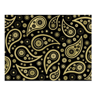 Paisley Funky Print in Black & Golds Postcards