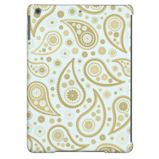 Paisley Funky Print in Light Blue Golds Cover For iPad Air