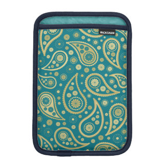 Paisley Funky Print in Teal & Golds iPad Mini Sleeve