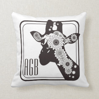 Paisley Giraffe Design Funky Cool Monogram Throw Pillow