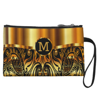 Paisley Gold and Black Monogram Design Wristlet