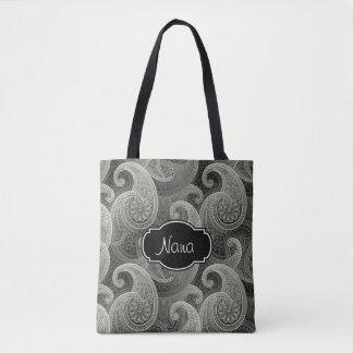 Paisley gris elegante con monograma bolsa de tela