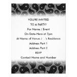 Paisley gris y negra invitaciones personalizada