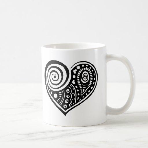 Paisley Heart /blk Classic White Coffee Mug