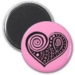 Paisley Heart /blk Fridge Magnet