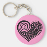 Paisley Heart /blk Key Chain