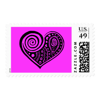 Paisley Heart /blk Postage