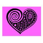 Paisley Heart /blk Postcard