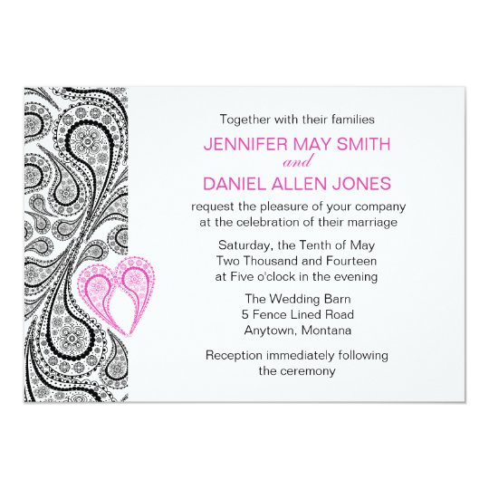 Paisley Heart Hot Pink And Black Wedding Invite