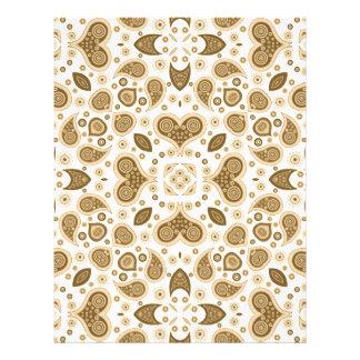 Paisley hearts beige letterhead design