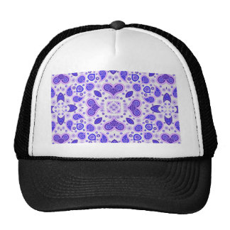 Paisley hearts blue mesh hat