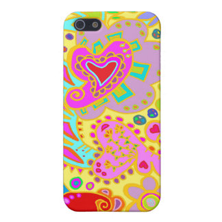 Paisley Hearts Doodle YELLOW, purple, pink CASE