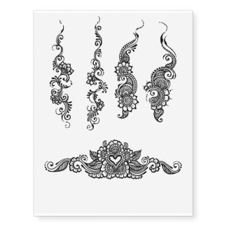 Paisley henna design temporary tattoo sheet