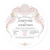 paisley henna design wedding invitation card
