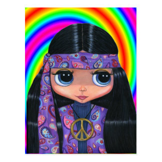 Paisley Hippie Doll Postcard