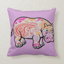 Paisley Hippo Pillow