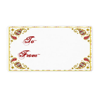 Paisley Holiday Gift Tag Personalized Shipping Labels