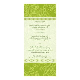Paisley Impression in Green Menu Rack Card