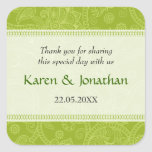 Paisley Impression in Green Wedding Sticker