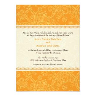 "Paisley Impression in Orange Wedding Invitation 5.5"" X 7.5"" Invitation Card"