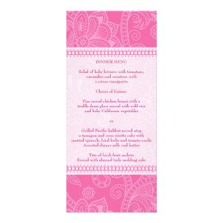 Paisley Impression in Pink Menu Rack Card