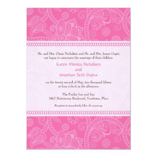 Paisley Impression in Pink Wedding Invitation