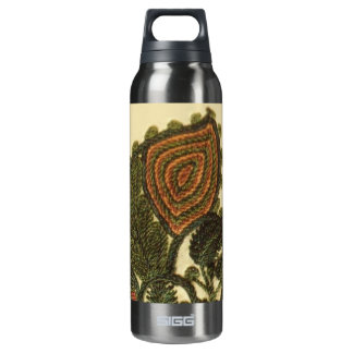 Paisley In Green And Beige Thermos Water Bottle