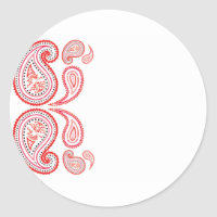 Paisley in orange and pink - middle eastern design classic round sticker