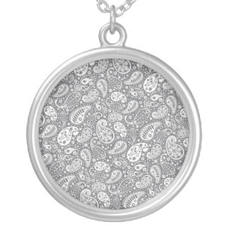 Paisley in Shades of Grey Round Pendant Necklace