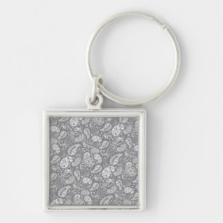 Paisley in Shades of Grey Silver-Colored Square Keychain
