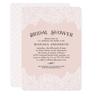 Paisley Lace Bridal Shower Invitation   Blush