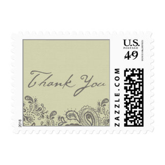 Paisley Lace Wedding Thank You Stamp