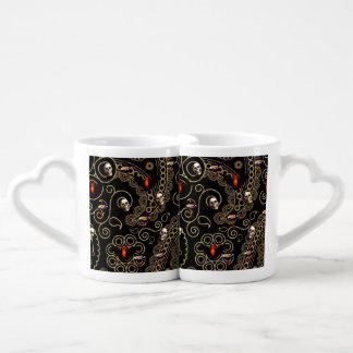 Paisley Lace with Bats and Skulls Coffee Mug Set