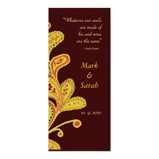 Paisley Leaves Chocolate Wedding Invitation P