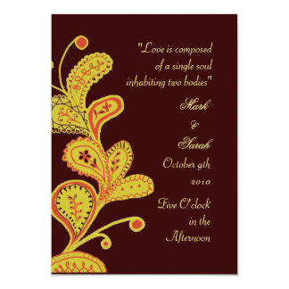 Paisley Leaves Chocolate Wedding Invitation P 2