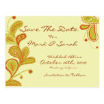 Paisley leaves & Vines Save The Date Post Card