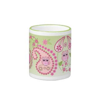 Paisley linda el diseño floral con los búhos del b tazas de café