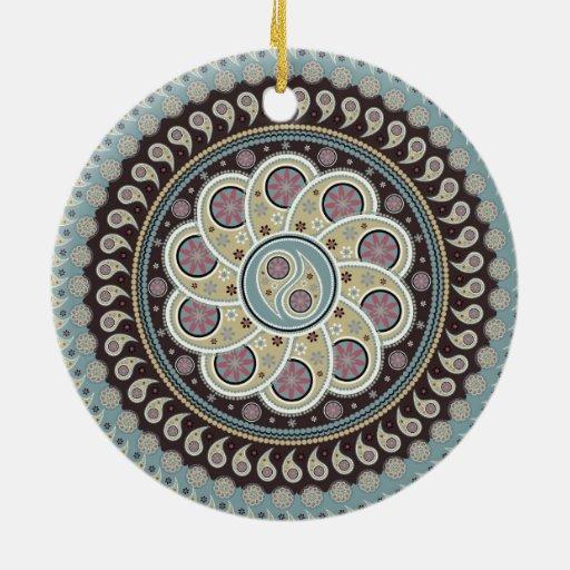 Paisley Mandala Double-Sided Ceramic Round Christmas Ornament