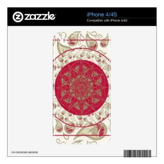 Paisley Mandala pattern background red grey white iPhone 4 Decal